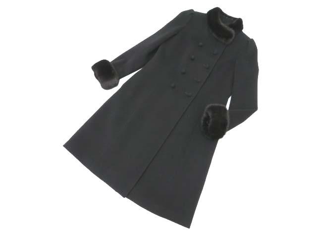 Rene ミンクファー付きコート ブラック 34 A1美品【中古】