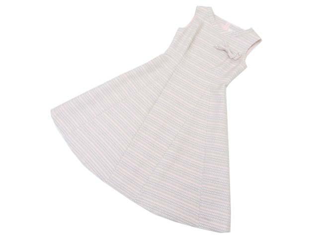 Rene Dress(リボンブローチ付き) ホワイト×ピンク×グレー×ライトブラウン系 34 S1【中古】