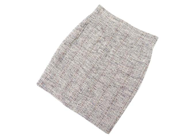 CHANEL ツイードスカート ブラウン系×ホワイト×レッド系×ネイビー系 46 A1【中古】