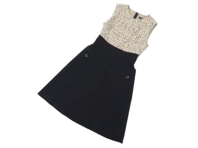 FOXEY BOUTIQUE 37530 Dress(Tweed combo) ベージュ×ブラック 38 S1【中古】