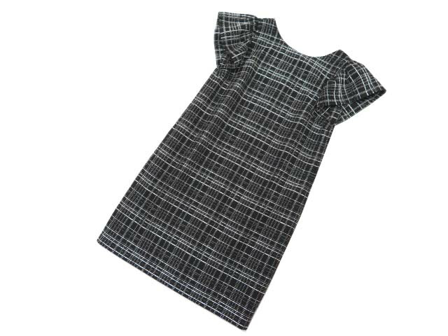FOXEY NEW YORK COLLECTION 36660 Check Dress ブラック×ホワイト 40 S2【中古】