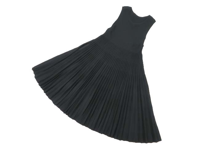 FOXEYBOUTIQUE 36568 Pleats knit Dress ブラックブラック 40 A1美品【中古】