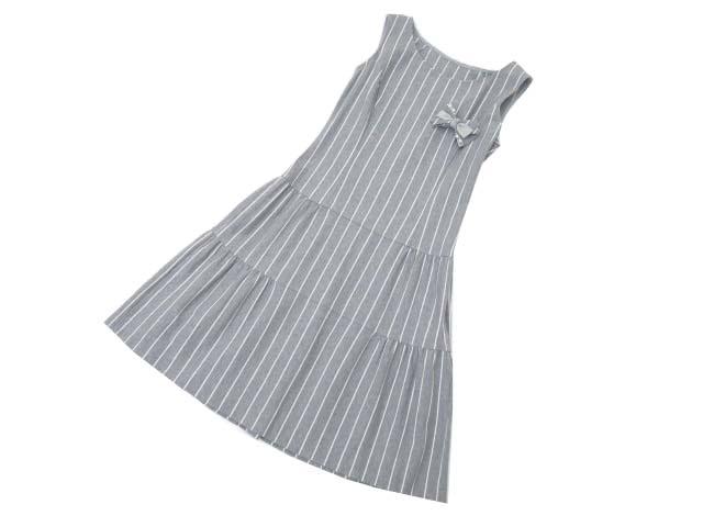 Rene Relax Dress(ラッフルストライプ・マニー) グレー 34 S2【中古】