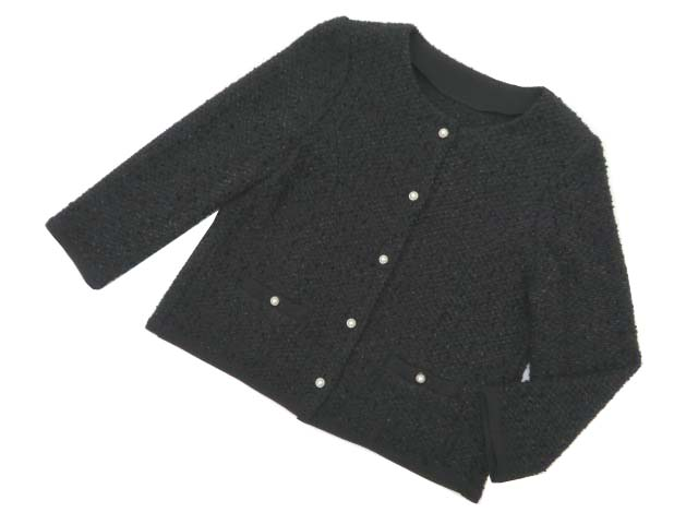 FOXEY BOUTIQUE 36834 Day Knit Tweed Jacket ブラックブラック 40 A1美品【中古】
