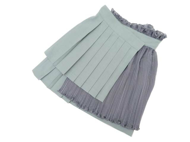 3eae2a9b2c11 ADEAM 38845 PPEATED MINI WRAP SKIRT Moss/Elephant 2 A1美品【中古】-スカート