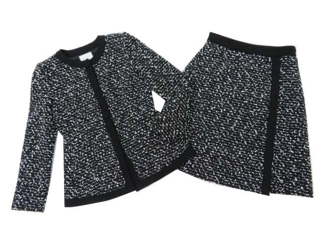 FOXEY BOUTIQUE 37527・37529 ジャケット×スカート(グレースツイード) ブラックブラック 40 S2【中古】