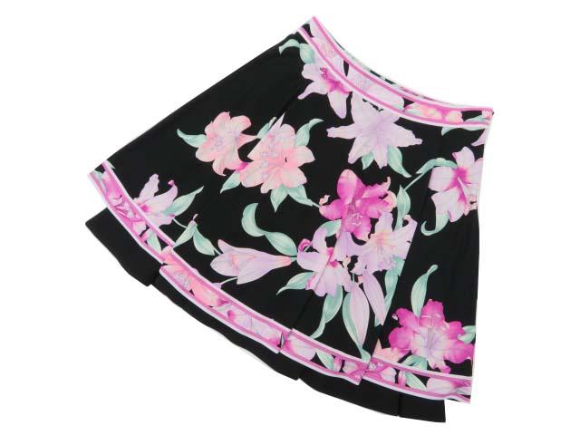 LEONARD FASHION スカート ブラック×ピンク系×ライトグリーン系 40 S2【中古】