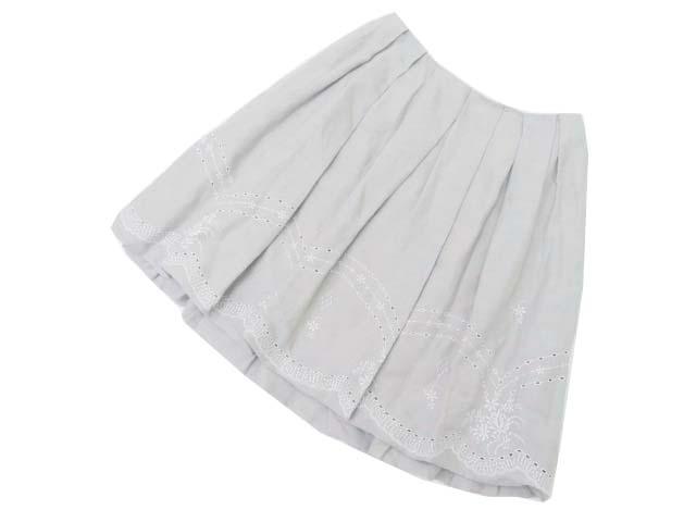 6/15(金)21:30から販売開始!!!FOXEY BOUTIQUE 37928 Skirt(Linen Flower) ソフィーグレー 40 S1【中古】