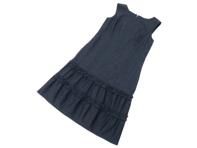 Rene basic Denim Dress(Tiered Hem) ミッドナイトネイビー 34 S1【中古】