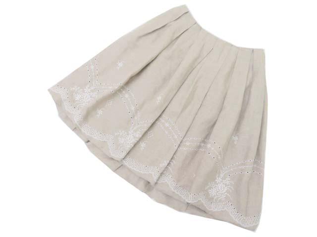 FOXEY BOUTIQUE 37928 Skirt(Linen Flower) ナチュラル 38 S2【中古】