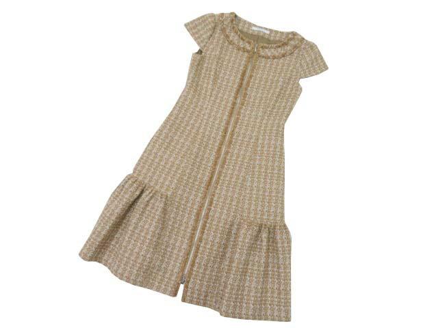FOXEY BOUTIQUE ドレス 38984 ベージュ×ホワイト 38 '18年 未使用【中古】