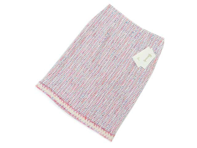 Harrods フラッフィツイードスカート ピンク系×ブルー系 MIX #2 S1【中古】