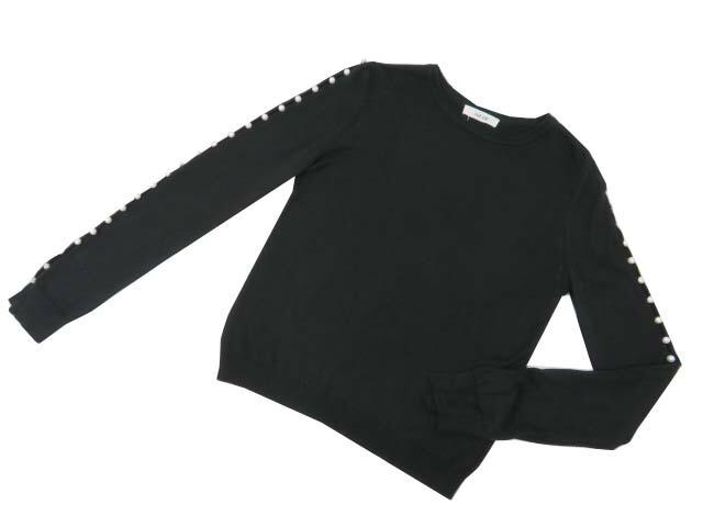 ADEAM 37380 PEARL BUTTON SWEATER ブラック #2 A1【中古】