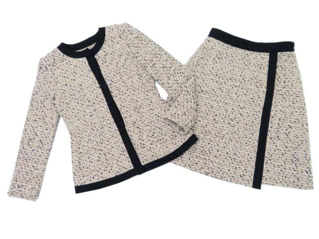 FOXEY BOUTIQUE 37527・37529 ジャケット×スカート(グレースツイード) ベージュ×ブラック 40 S2【中古】