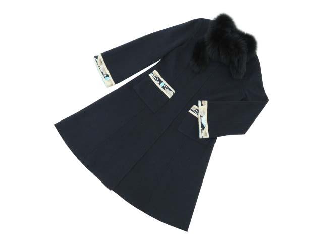 LEONARD FASHION ファー付きコート ネイビー×ライトブルー系 40 A1【中古】