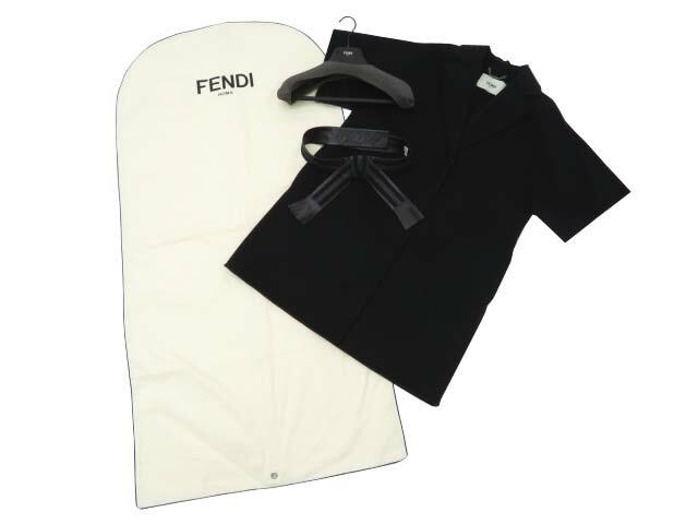 FENDI ダブルフェイスコート(革ベルト付) ブラック 38 A1【中古】