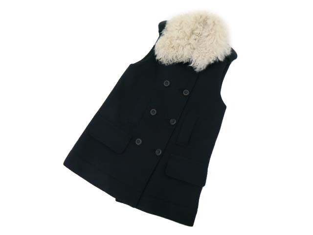FOXEY NEW YORK COLLECTION 34611 DOUBLE FACE VEST ネイビー F A1【中古】