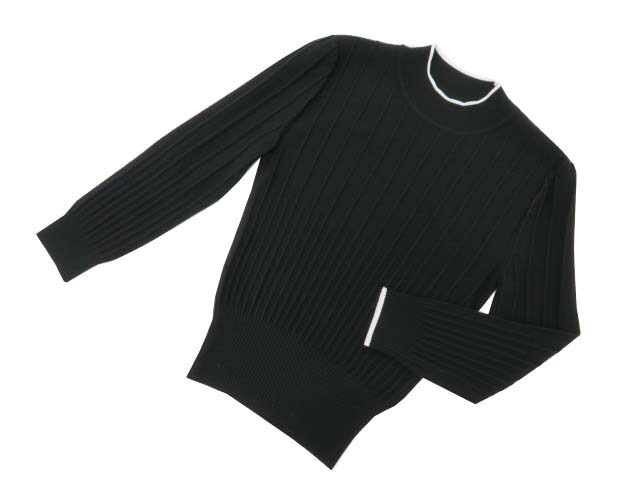 FOXEY BOUTIQUE 39201 Knit Tops ブラック×ホワイト 38 A1【中古】
