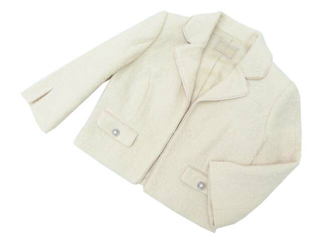 FOXEY BOUTIQUE 37621 Jacket(Grace Tweed) ライトナチュラル 42 A1美品【中古】