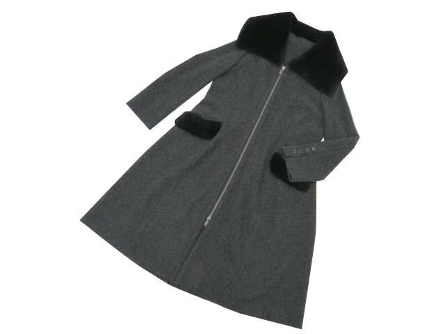 FOXEY BOUTIQUE 37782 Knit Coat リッチグレー×ブラック 40 A1【中古】
