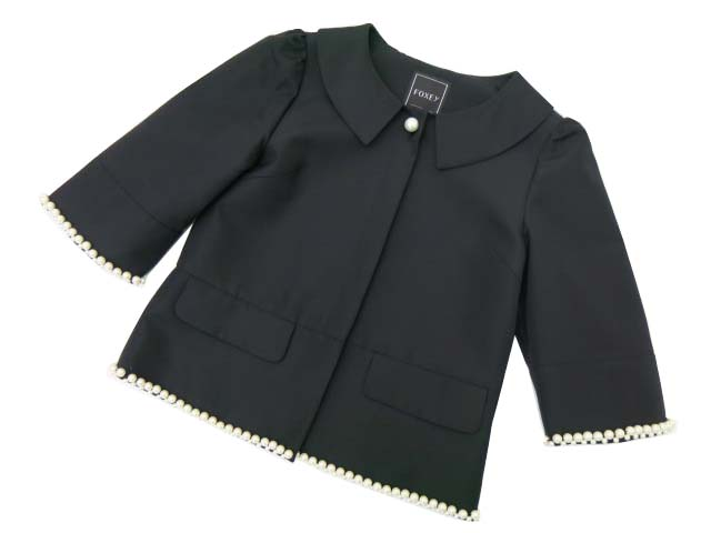 FOXEY BOUTIQUE 36704 Peter Pan Pearl Jacket ブラックブラック 38 A1【中古】