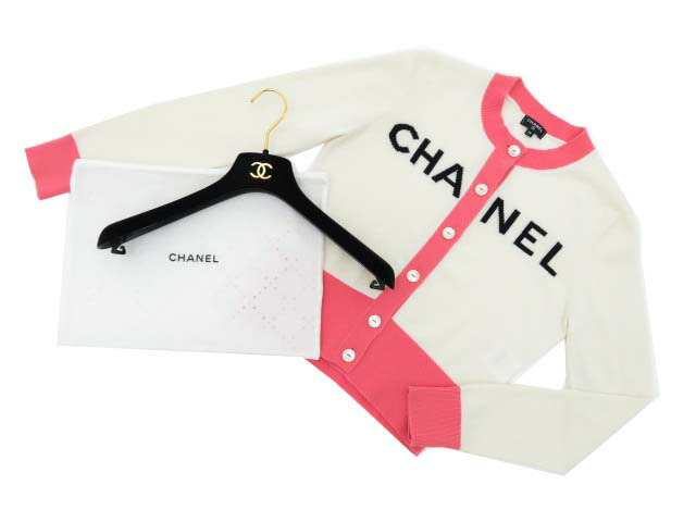 CHANEL CARDIGAN 2019SS SILK WHITE×PINK 36 S2【中古】