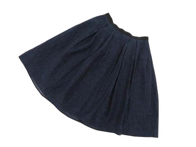 FOXEY NEW YORK COLLECTION 36668 Daisy Fil Coupe Skirt ネイビー 38 A1【中古】