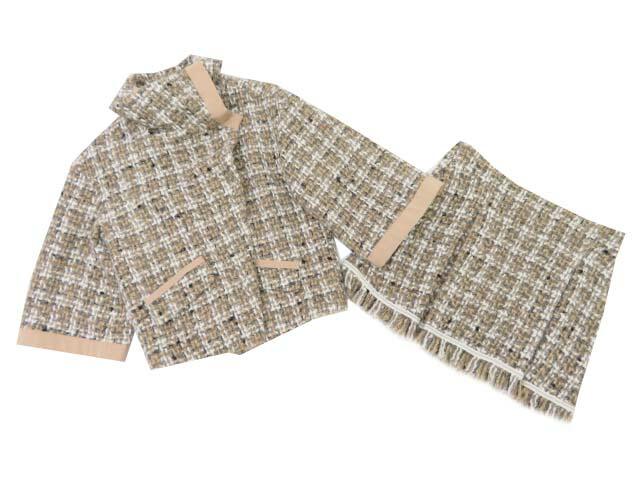 PAOLA FRANI ツイードスーツ ブラウン系×ホワイト 38 A1【中古】