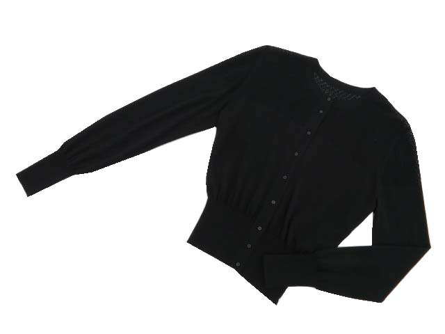 40 シルクカシミヤデイジートラベル用カーディガン DAISY ブラックブラック LIN S1【中古】 06158