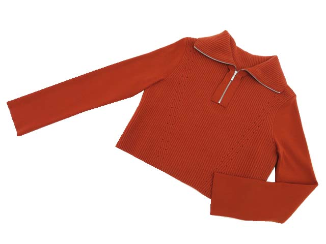 FOXEY BOUTIQUE 40350 Sweater(Turtle Zip) レンガ 42 A1【中古】