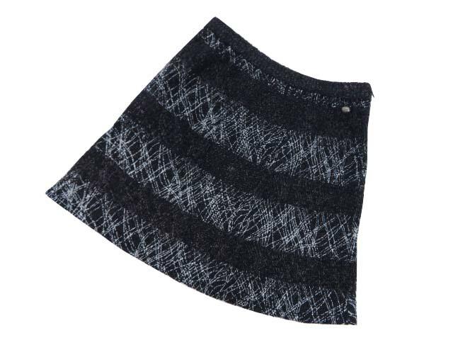 CHANEL コットンニットスカート ブラック×ダークネイビー×ホワイト 40 A1【中古】