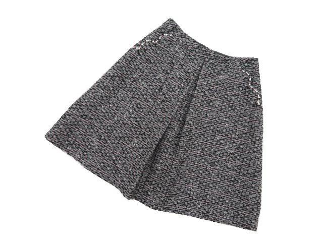 初売り Rene ツイードスカート グレー×ブラック×ピンクMIX 34 中古 数量限定 A1 '17年