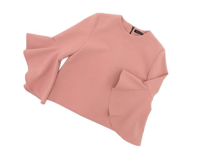 6/4(木)21:30から販売開始!!!YOKO CHAN Flared-Sleeve Blouse ピンク 40 A1【中古】