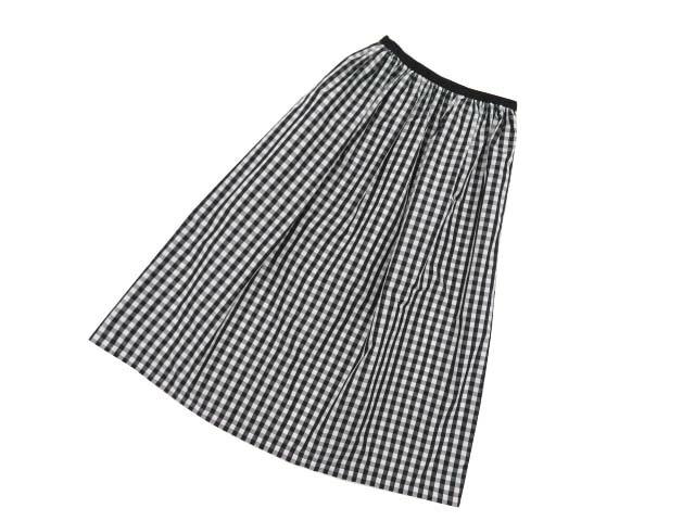 MARONENONFEE AWチェックロングフレアスカート ME-S003009 ブラック×ホワイト 38 '20年 未使用【中古】