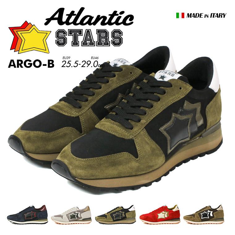 【送料無料】Atlantic STARS ARGO アルゴ 本革 イタリア スニーカー メンズ ビブラムソール 黒 ブラック グレー カーキ レッド ブランド 人気 おしゃれ 芸能人 星 スター ダッド 厚底 原宿系 革靴 レザー ウォーキングシューズ インスタ ファッション