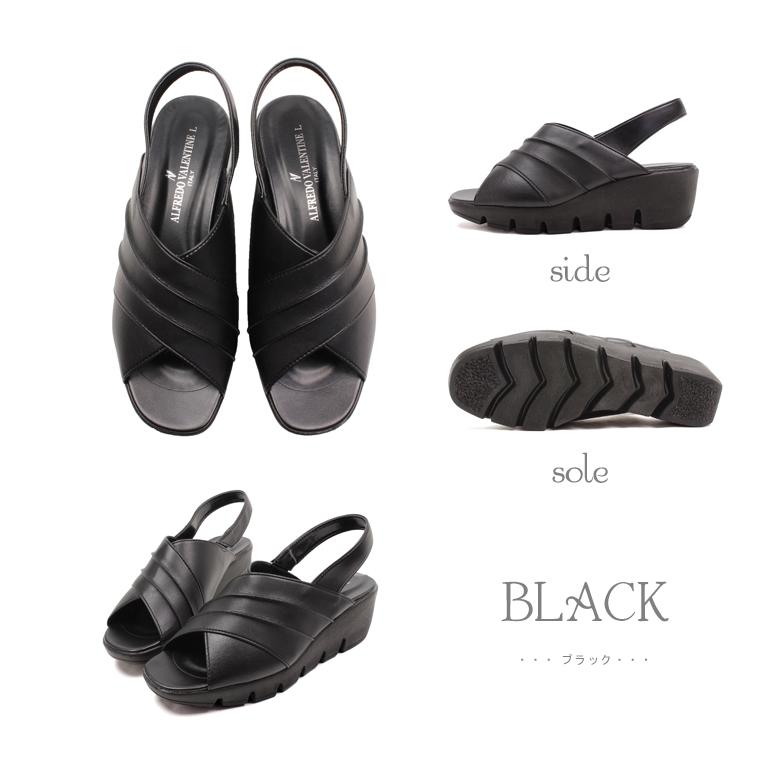 日本製 ALFREDO VALENTINE オフィスサンダル レディース 黒 疲れない サンダル レディース ヒール 厚底 かわいい 人気 シルバー 歩きやすい ウェッジソール ウエッジソール 痛くない 109-1034