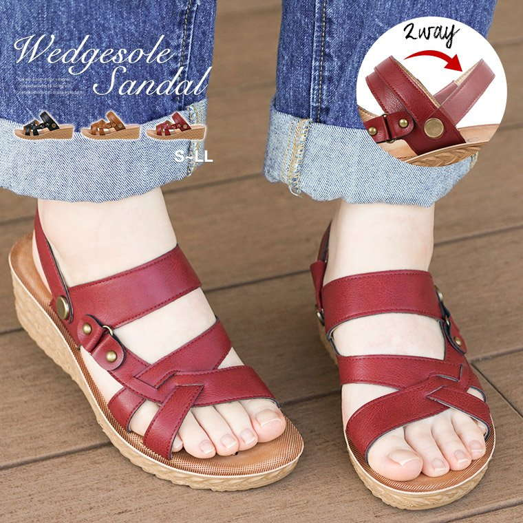 2dc55df8f4b It is trip to resort opening toe black brown red red 707 in U/W/C light  weight 2way sandals Lady's wedge sole walk and light strap sandals  wedge-heel ...