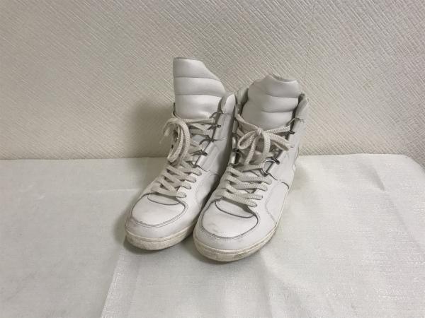 中古 激安価格と即納で通信販売 記念日 美品本物アトウato本革レザーハイカットジップアップスニーカービジネス靴ブーツメンズ白ホワイト9旅行トラベル27cm