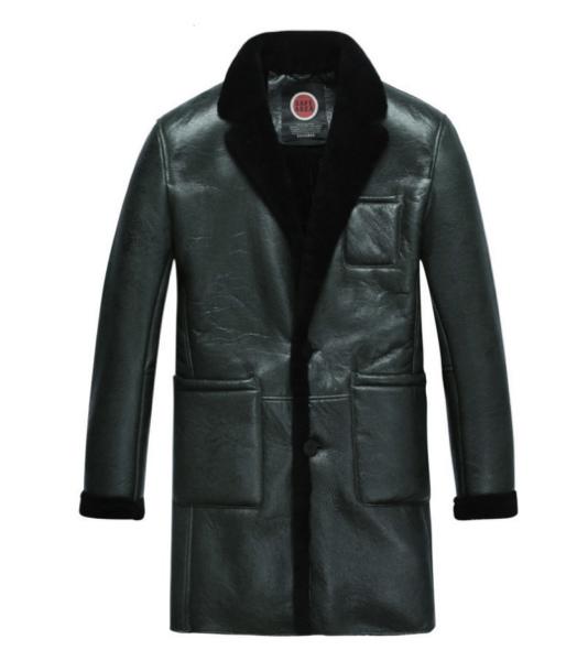 新品 セレブレザー 本革 毛皮 チェスタームートンコートロング ファー ボア SM-4XLブラック 黒 メンズ