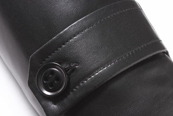 新品セレブレザー本革毛皮ムートンコートロングフード帽子リアルラクーンファーボアM-4XLブラック黒メンズ