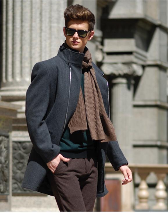 セレブレザー リーズナブル 送料無料 ウール混ファスナージップアップロングコートモードジャケット ビジネス フォーマル スーツ