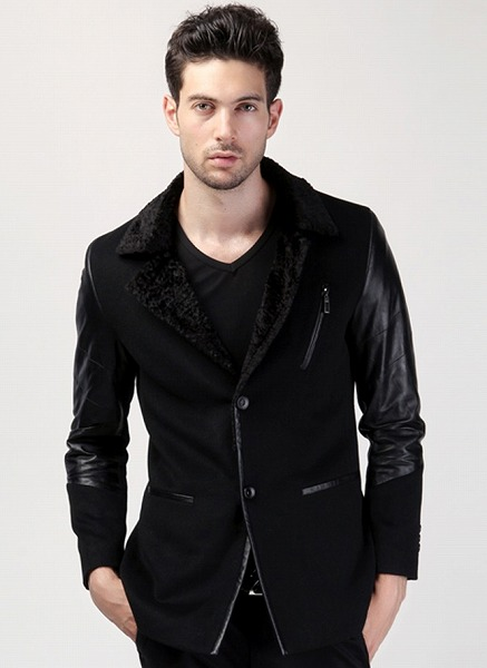 セレブレザー ウール混 テーラードジャケット JKT 襟羊毛ファー 袖ラムレザー デカサイズ 大きいビッグBIGあり M-3XL