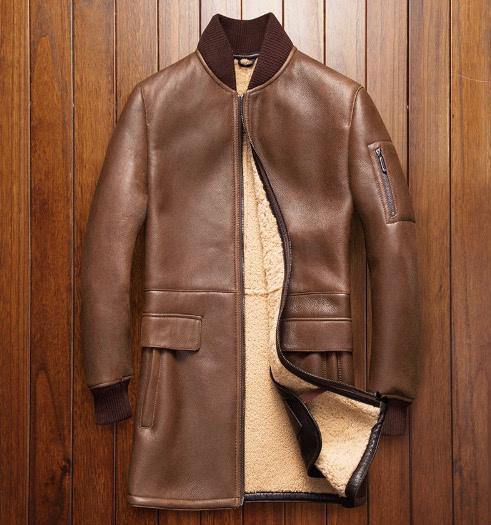 新品 セレブレザー メンズ 本革 ムートンファーボアMA-1ミリタリー羊皮羊毛ウールラムレザーコート毛皮ジャケット黒ブラウン ブラック M-4XL JKT 革ジャン 6339