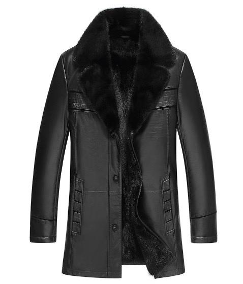 新品 セレブレザー 毛皮内側高級リアルミンクファーロングチェスターコート 本革 ラムレザージャケットJKT スーツ ビジネス 黒ブラック メンズ M-4XL