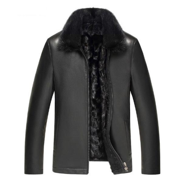 新品 セレブレザー 毛皮内側高級リアルミンクファー 本革 羊皮ラムレザージャケットJKT バイカー スーツビジネス 黒ブラック メンズ M-4XL