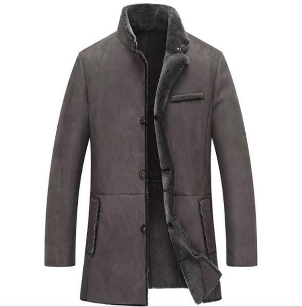 新品 セレブレザー 本革  ムートンロングコート毛皮羊皮ラムレザーボアジャケット JKT ビジネス グレー L-5XL デカビッグ タイト