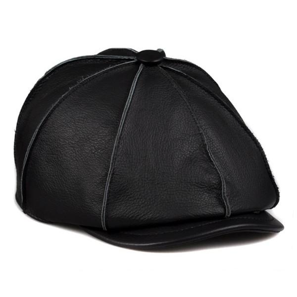 セレブレザー 本革 牛皮 メンズ レザー 八角帽子 画家 ベレー帽 ハンチング 黒 ブラック 各6色カラー