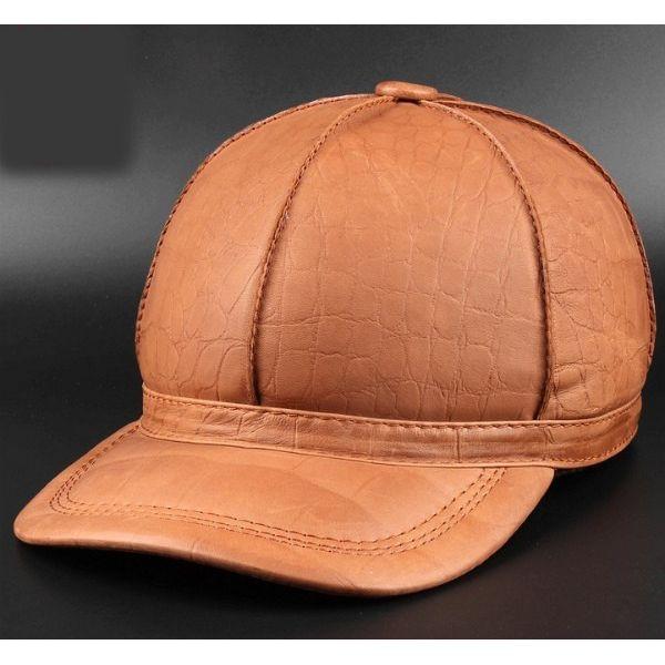 セレブレザー 本革 牛皮 キャスケット デカキャップ 帽子 茶ブラウン ライトイエロー黄色 型押し 3色展開
