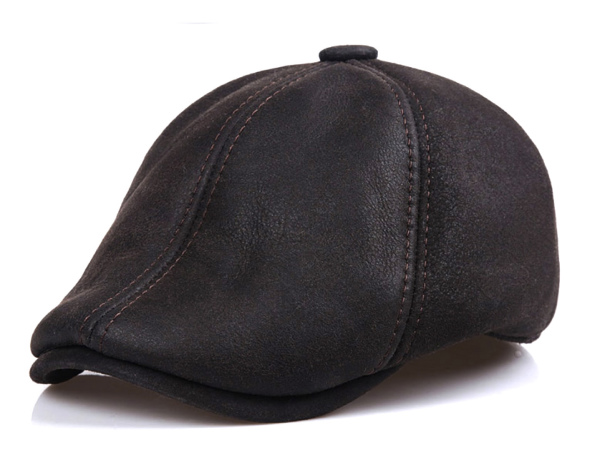 Brand new celeblazer leather Shearling fur RAM Hunting Hat mens black tea  black dark brown beret 12fb86c38d3