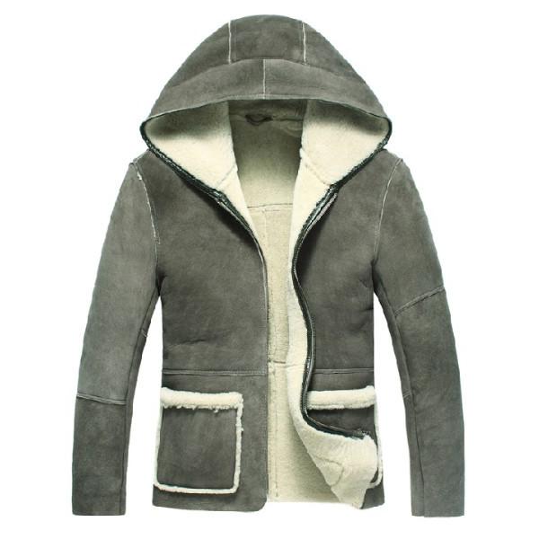 セレブレザー 本革  毛皮ムートンファーボア羊皮ラムレザージャケットフード付き ジャンパー ブルゾン JKT グレー M-3XL